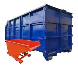 Hook containers tipping skips